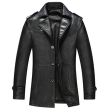 China Imported Business Casual Leather Windbreaker Men 's Long Paragraph Men' s Leather Jacket And Coats Natural Color C297
