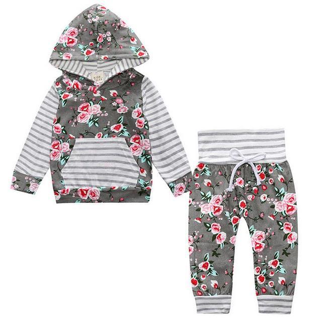 Малыш новорожденных девочек комплект одежды С Капюшоном Цветочные длинным рукавом футболки + брюки 2 шт. костюмы девушки бутик одежды