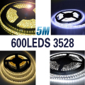 5m 120 led/m 3528 SMD 12V flexible light 120 led/m,LED strip  white/warm white/blue/green/red/yellow