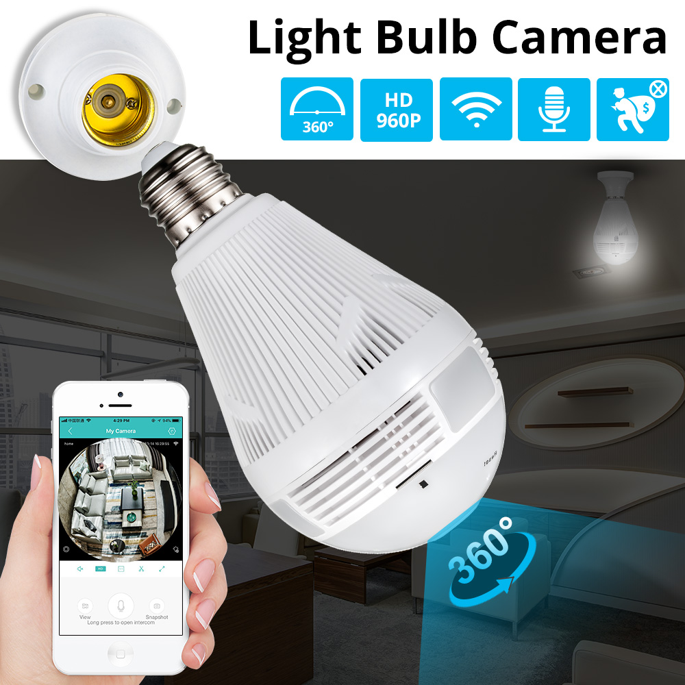 Golden Security Wireless 360 Degree 960P view LED Panoramic CCTV Light Bulb Lamp Camera for WiFi
