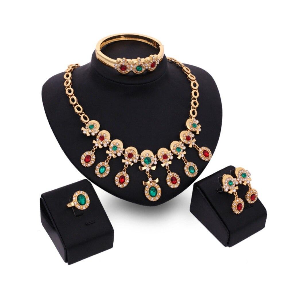 KUNIU 2017 New  Vintage Classic Turkish Jewelry Sets For Women Earring Ring Bracelet Necklace Multi color Rhinestone