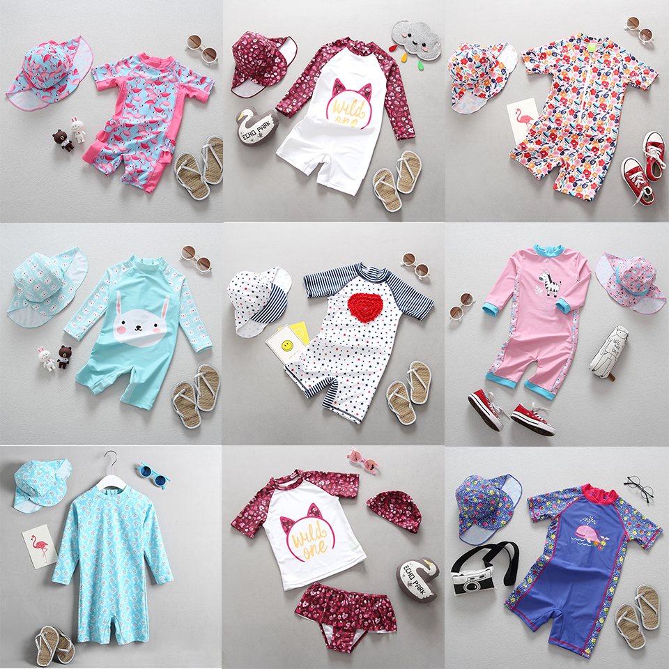 Maillot de bain fille enfants maillot de bain pour filles à manches longues Protection UV 2019 mignon flamant rose une pièce enfant vêtements de bain bébé