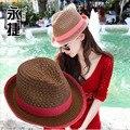 Pimiento pequeño sombrero femenino del verano del nuevo de Corea del hueco transpirable cáñamo sombrero de paja Sir cap \ sombrero del sol Envío gratis