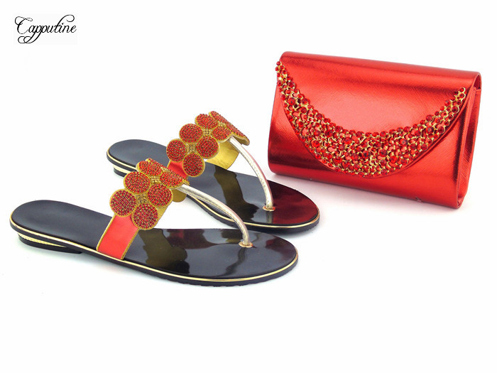 Graceful red with rhinestones design slipper shoes and purse bag set for lady 112 2, 4 color