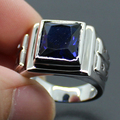 Men's Silver Big Oblong Blue Created Sapphire CZ Stone Ring Eternity Jewelry