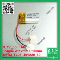 3.7V 60mAh battery 401220 Lithium Polymer Li Po li ion For Mp3 DVD Camera GPS PSP bluetooth electronics size:4x12x20mm 041220