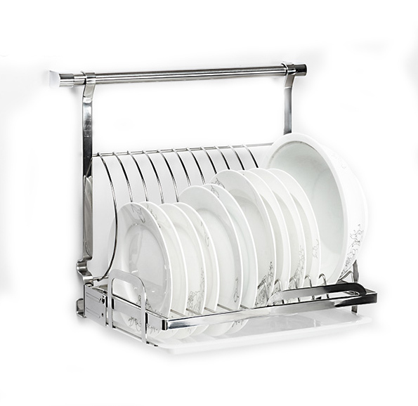 18 8 Stainless Steel Foladable Kitchen Plates Dishes Rack Wall Mounted Shelf For E
