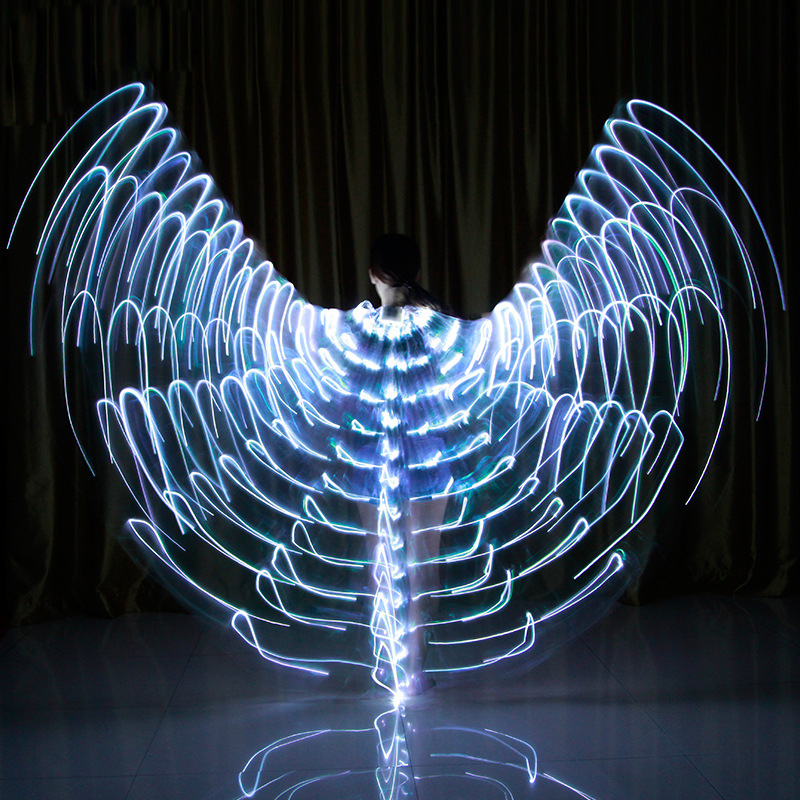 2018 Stafe Performance Prop Women Dancewear Girls DJ LED Wings Light Up Wings Belly Dance Wing
