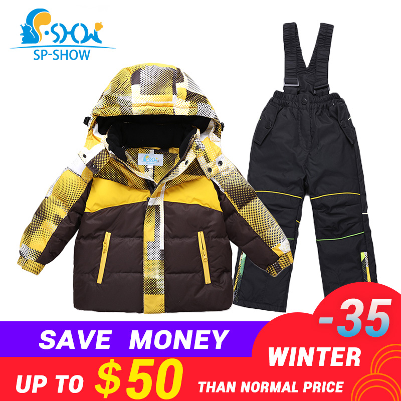 2018 SP-SHOW Winter Children Boy And Girl Brand Ski Jacket Windproof Jacket Thick Warm Fleece Jacket Coat+Trousers Two-Piece thirty two metcalf insulated jacket clay