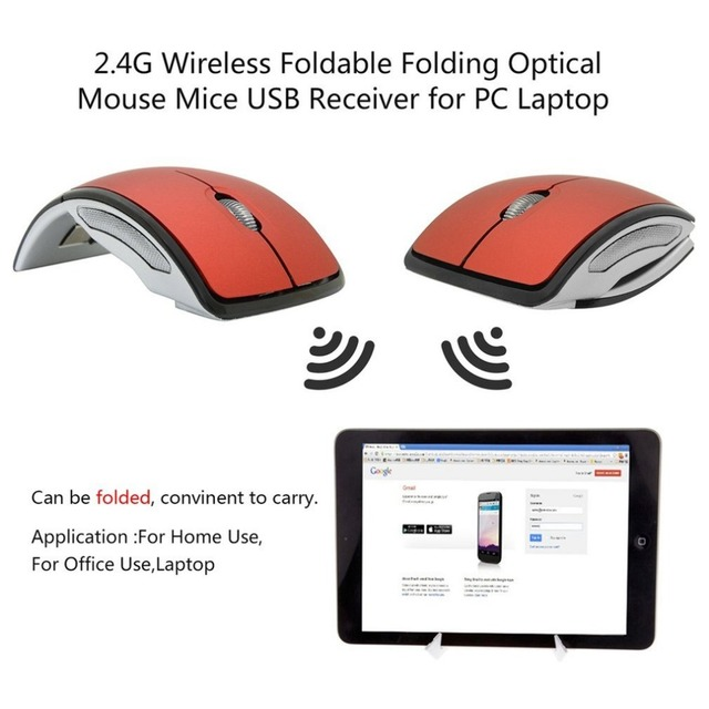 Folding Wireless Mouse for PC Laptop Computer Mini USB 2.4Ghz Snap-in Transceiver Optical Foldable Drop Shipping Wholesale Office & School Supplies