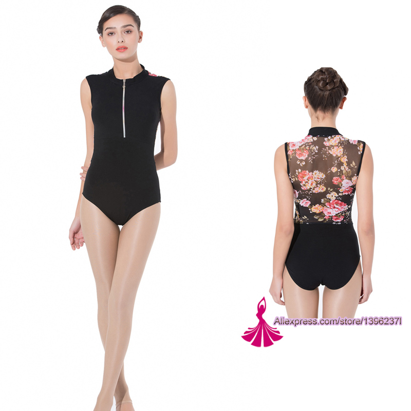 Gymnastics Leotard Adult 2019 New Design Zipper Net Dance Costume High Quality Black Ballet Dancing Wear Women Ballet Leotard