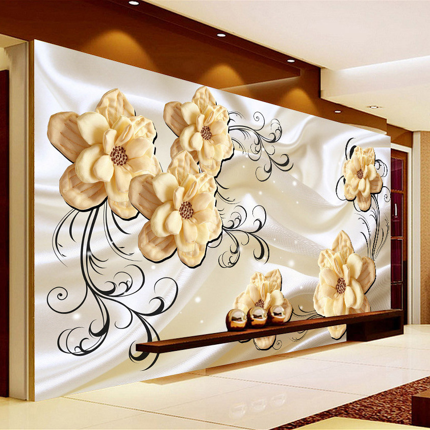 Custom Photo 3D Embossed Silk Flower Mural Wallpaper Modern Minimalist Living Room TV Background Papel De Parede 3D Wall Paper custom 3d photo wallpaper papel de parede tv background vintage paint design 3d wall paper walls mural useage livingroom bedroom