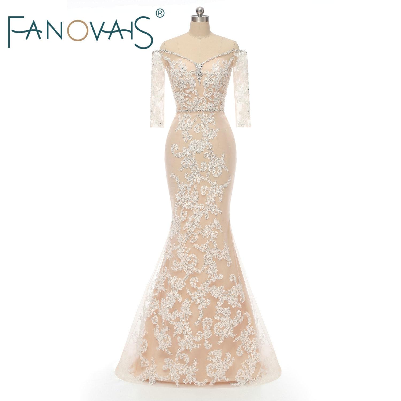 Mermaid Wedding Dresses Off The Shoulder Sleeves Beads Wedding Gowns Vestido De Novia 2019 Robe Mariee