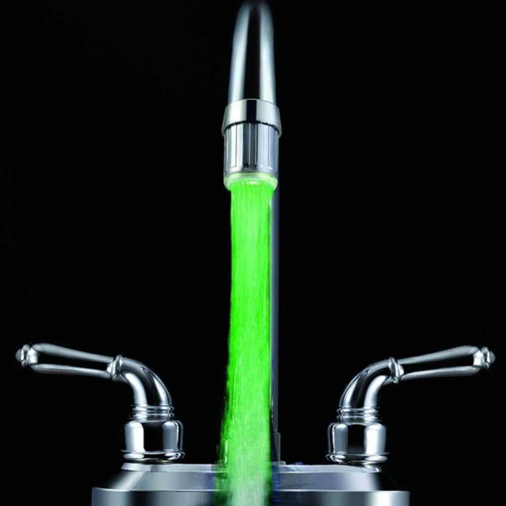 3 اللون led ضوء تغيير صنبور دش المياه الحنفية صنبور المياه استشعار لا البطارية الوهج دش اليسار برغي المطبخ صنبور