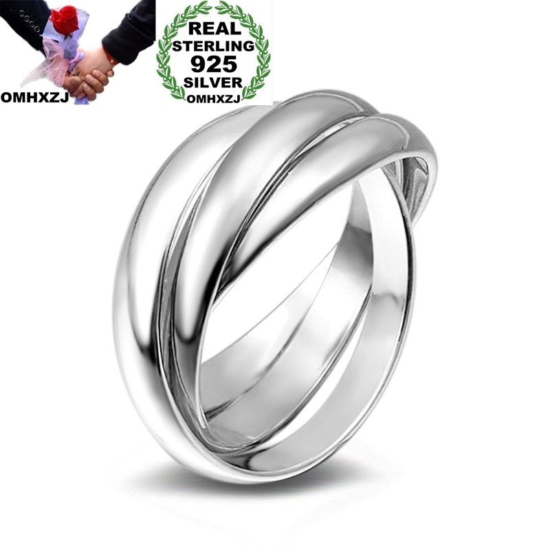 OMHXZJ Wholesale Personality Fashion OL Woman Girl Party Wedding Gift Silver Three Circles 925 Sterling Silver Ring RN276