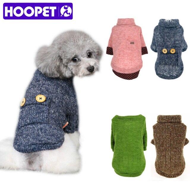 HOOPET perro lana suéter cachorro ropa de punto sudadera invierno ...