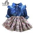 Розничная 2-8 лет платье полный рукава Сращивание цветочный Denim платье дети дети весна осень осень