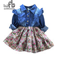 Venta al por menor 2-8 años vestido de mangas de Empalme floral Denim dress kids niños primavera otoño otoño