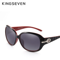 KINGSEVEN Lady Polarized Sunglasses Retro Large Round PC Frame Brand Design Black Sunglasses Luxury Elegant Lady