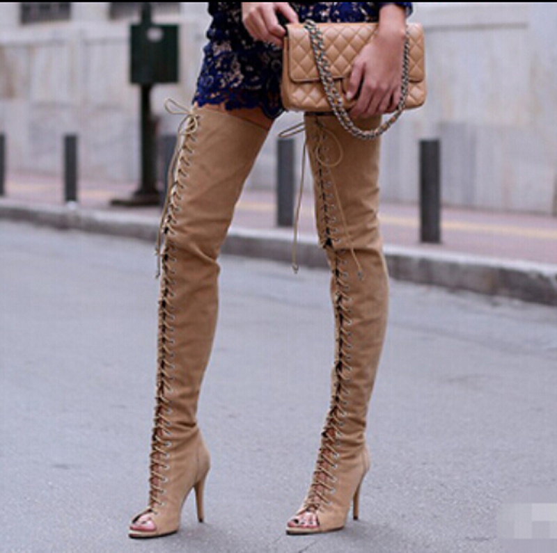 Compare Prices on Lace up High Heel Over The Knee Thigh High Boots ...