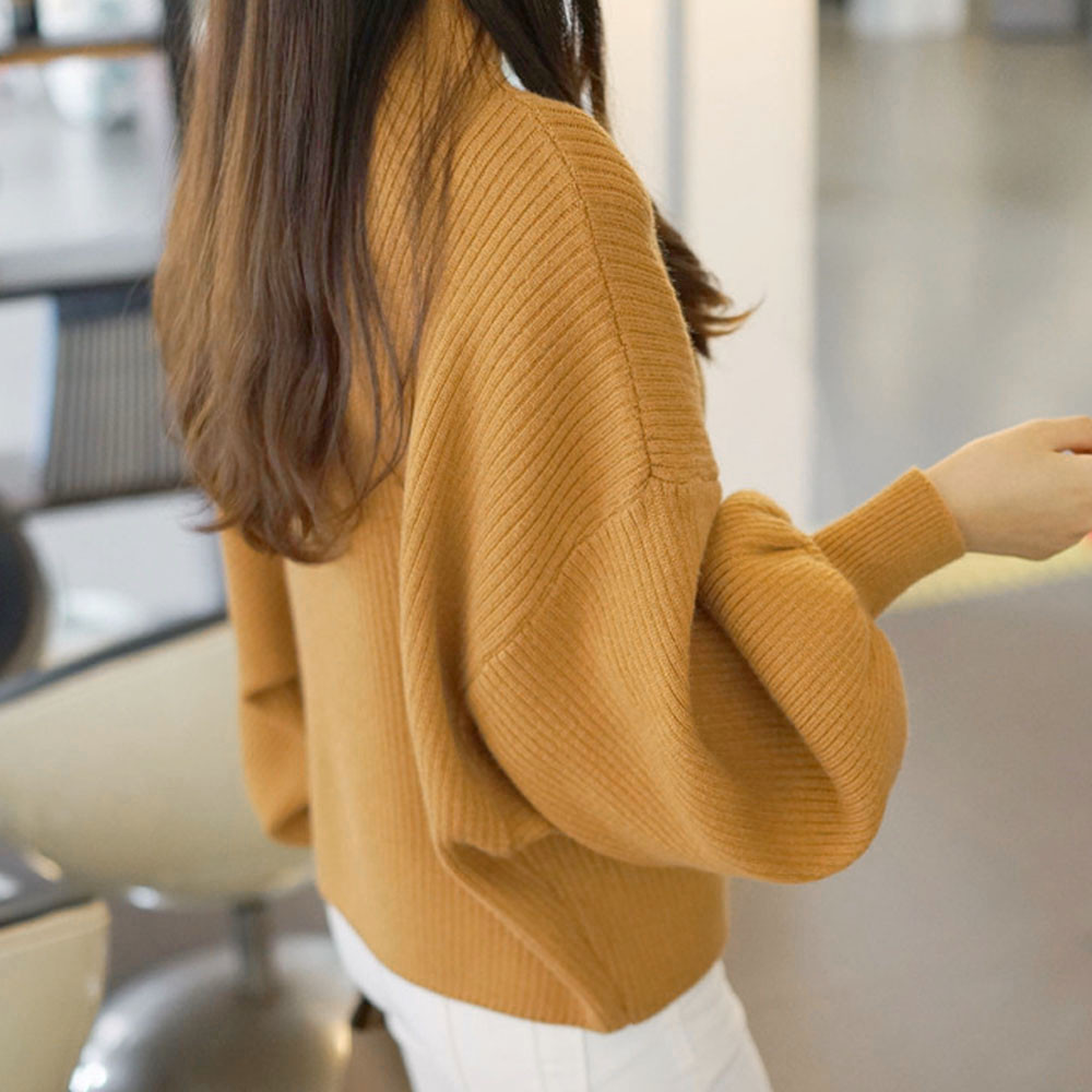 Winter Women Sweaters Fashion red white Turtleneck lantern Sleeve Pullovers Loose Knitted Sweaters Female Jumper Tops 19 9