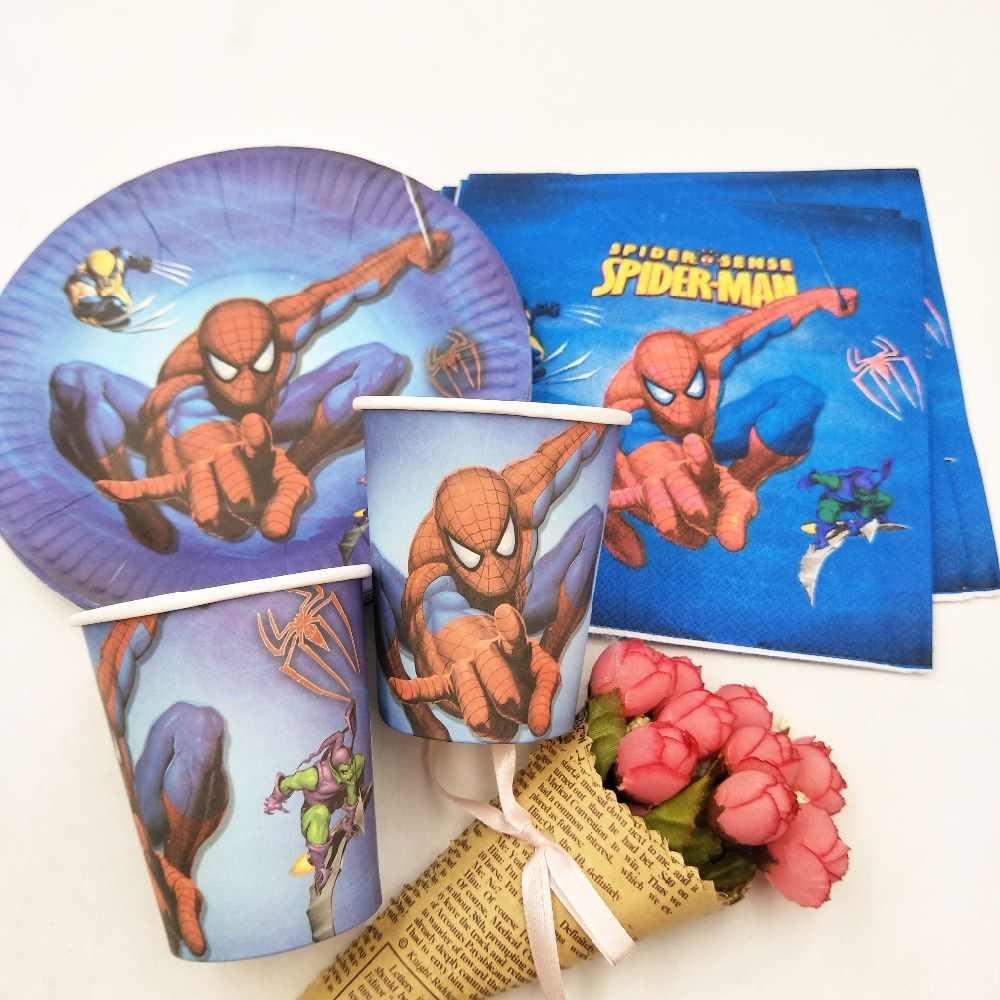 40 Buah/Set Tema Spiderman Cup/Plate/Serbet Perlengkapan Pesta untuk Anak Laki-laki Acara Pesta Dekorasi Superhero