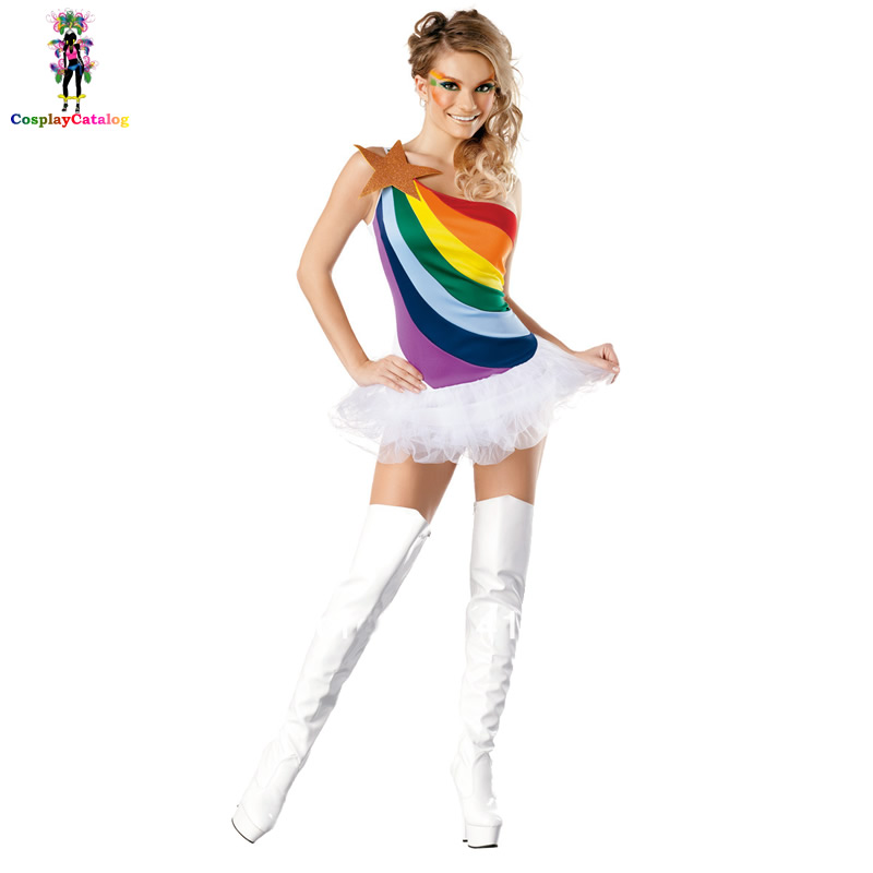 Cute Rainbow Sexy Adult Women Vitality Cheerleader Costume And Single Shoulder Tutu Dress,cheerleading uniforms