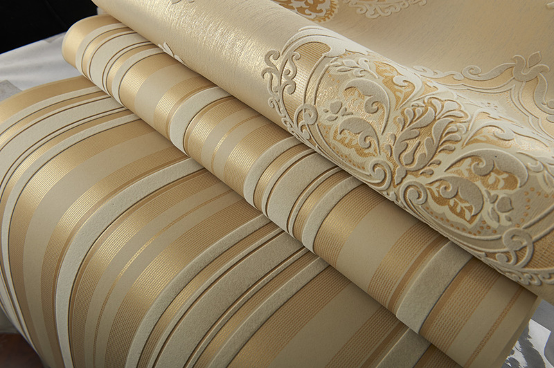 Luxury Champagne Gold Velvet Flocking Vertical Stripes Wallpaper Wallcovering все цены