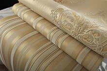 цена Luxury Champagne Gold Velvet Flocking Vertical Stripes Wallpaper Wallcovering