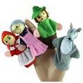 4 UNIDS de Dibujos Animados Caperucita Roja Finger Puppets Navidad Regalos Del Bebé marioneta de Dedo