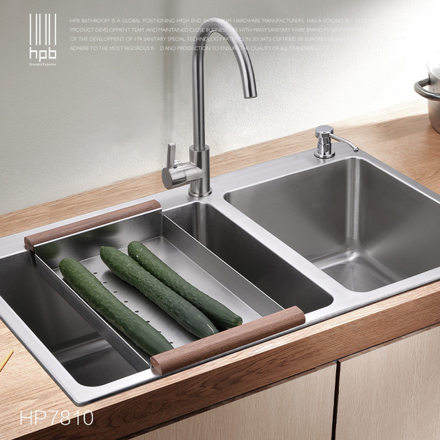 Superieur HPB German Kitchen 304 Stainless Steel Double Bowel Thicken Square Brushed  Kitchen Sink HP7801
