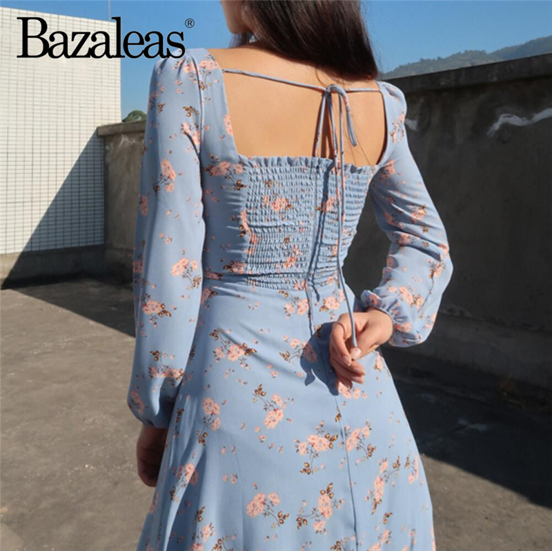 ruffle full sleeve vestidos Casual Backless women dress Fashion Waist Ties Dresses Blue Floral Print party Dresses