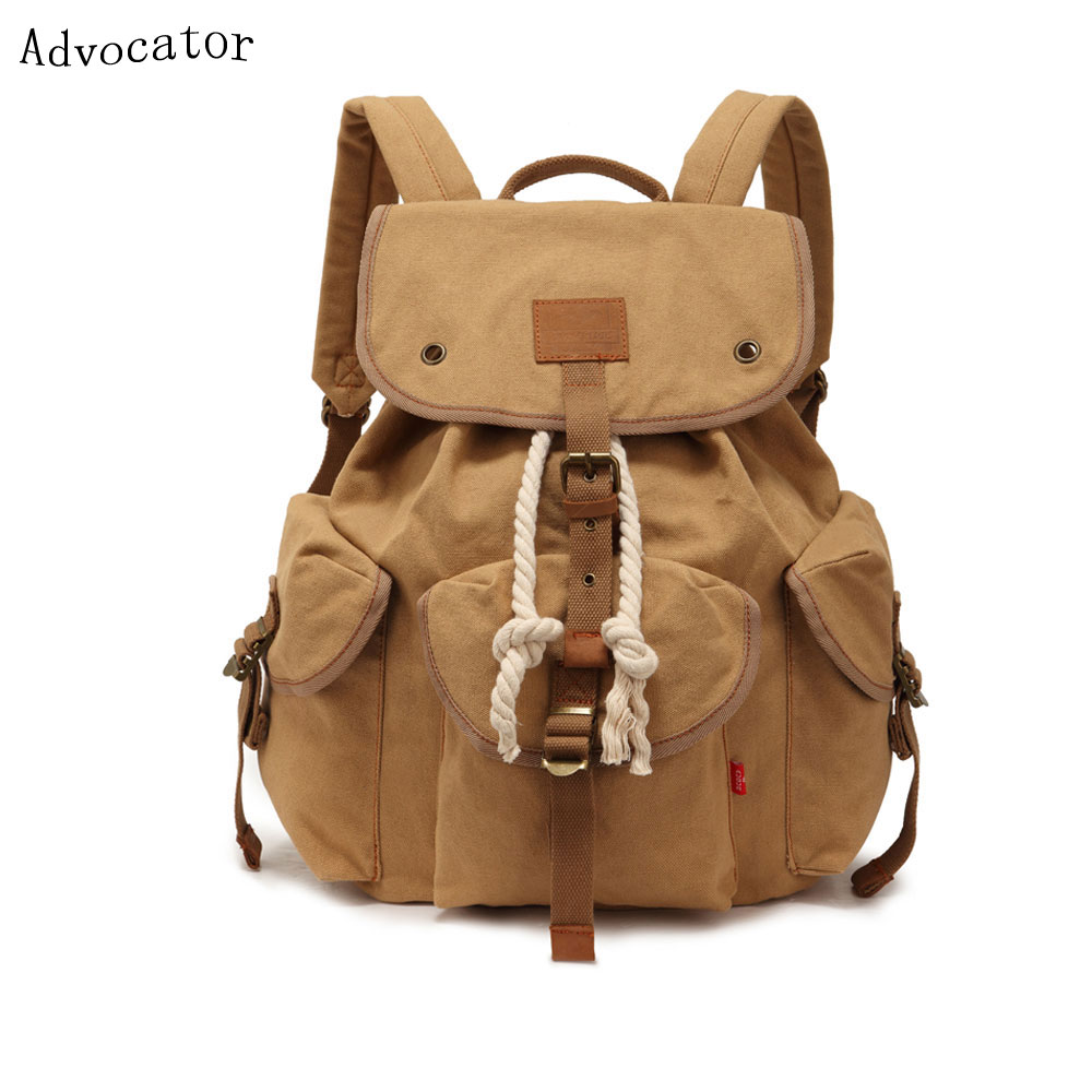 Augur Retro Korean Stylish Men Backpacking Bag Large Capacity Canvas Travel Women Backpack Portable School Bag for Teenager aosbos fashion portable insulated canvas lunch bag thermal food picnic lunch bags for women kids men cooler lunch box bag tote