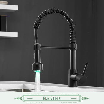 FLG Spring Style Kitchen Faucet Brushed Nickel Sink Faucet Pull Out Torneira All Around Swivel 2-Function Water Outlet Mixer Tap 10