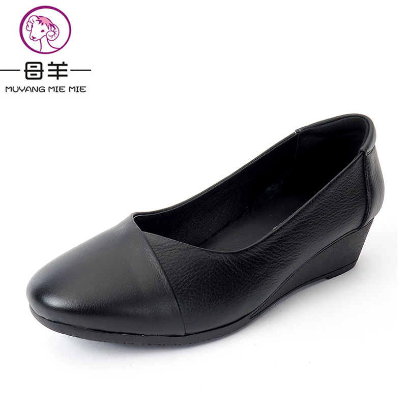 MUYANG MIE MIE Women Pumps Female Casual Wedge Work Shoes Woman Geuine Leather High Heels Women Shoes nayiduyun women genuine leather wedge high heel pumps platform creepers round toe slip on casual shoes boots wedge sneakers