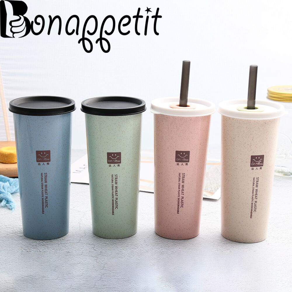 d25e92082a8 New Large 470ml Wheat Straw Water Cup With Straws Multi Functional Bouble  Lid Cup Cola Coffee Plastic Mugs Healthy Drink Bottle-in Mugs from Home &  Garden ...