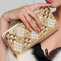 2016 Hot Fashion Women Wallets handbag solid PU Leather Diamond Long bag black gold clutch Lady brand Cash phone card coin Purse