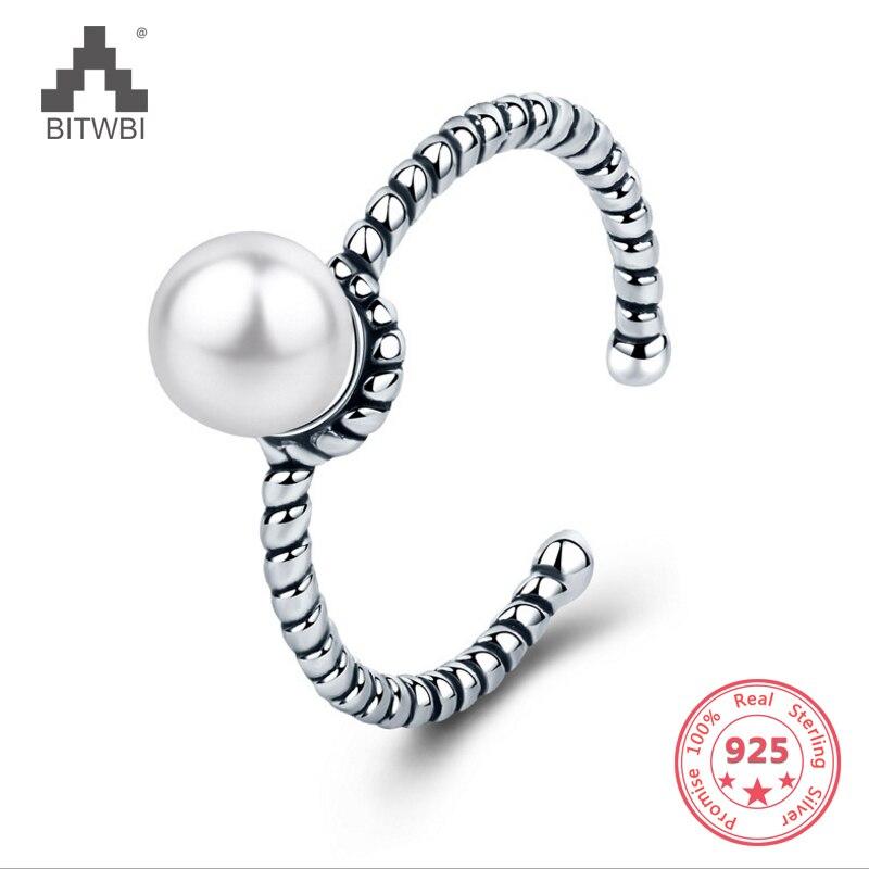 100% 925 Sterling Silber Vintage Einfache Seil Geflochtene Natürliche Süßwasser Perle Twist Öffnung Ring Für Frauen