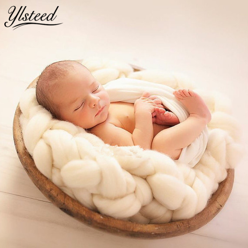 New Super Thick Wool Chunky Blanket Hand Knitting Baby Photography Blanket Newborn Basket Filler Baby Photo Shoot Props colorful woolen yarn blanket 100 120cm hand chunky knitted braid sofa blanket thick wool bulky knitting throw dropshipping