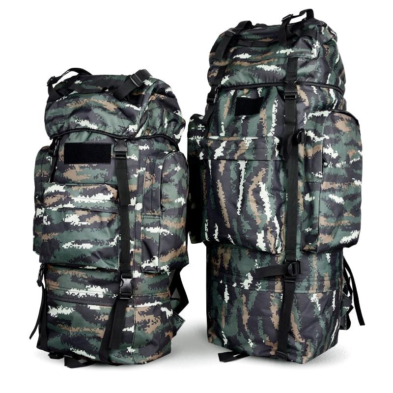 65L 100L Durable Waterproof Metal Frame NylonTraval Hiking Camping Trekking Luggage Rucksack Backpack Outdoor Sport Mountain Bag