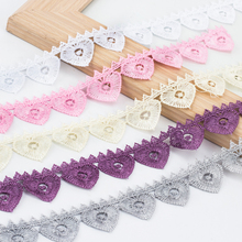 2cm Wide Color Love Peach Pattern Delicate Water Soluble Lace Fabric Skirt Clothes Hat Edge Decorative Curtain Tablecloth Sewing 7cm wide hollow delicate flower lace handmade diy embroidery clothing accessories skirt water soluble edge sewing curtain decor