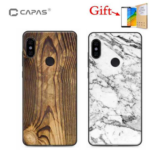 premium selection 016f0 de856 US $7.99 |Redmi Note 5 Pro Case Cover Silicone TPU 3D Wood Stone Patterned  Soft Back Cover + Tempered Glass For Xiaomi Redmi Note 5 Pro-in Fitted ...