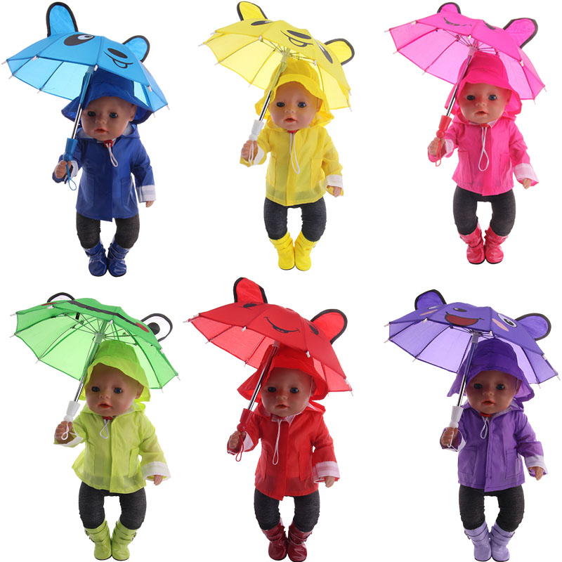 Rain Set 6Pcs=Hat+T-Shirt+Coat+Pants+Shoes+Umbrella Fit 18 Inch American&43 Cm Born Baby Doll Clothes,Generation,Girl's Toy Gift