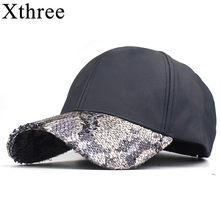 a54b7fc7fb69e Xthree Nova moda outono inverno PU couro moto snapback chapéu boné de  beisebol para as mulheres