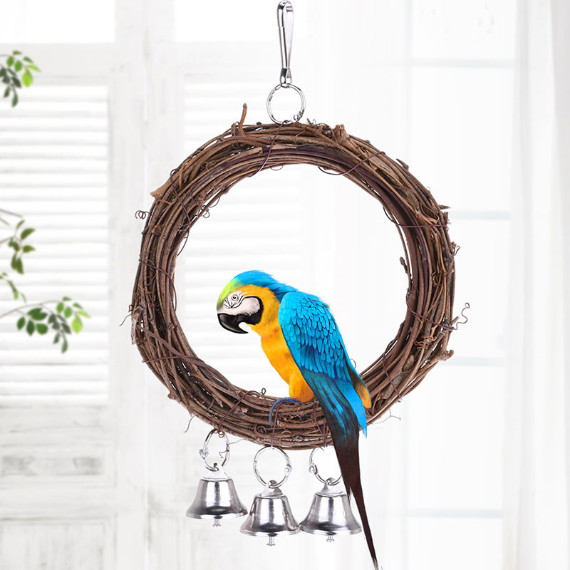 Wooden Parrot Toy Bird Stand Playing Rack Swing Wood Ring For Birds Hanging Toys With Bell Bird Accessories Bird Toys Supplies 4