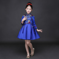 2018 China National Style Girls Dress Blue Printed Spring Long Sleeve Knee Length Princess Dress Chinese