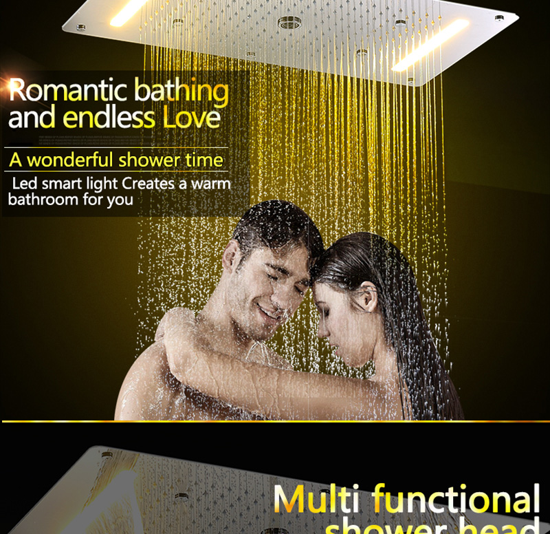 Luxury Shower Set Accessories Ceiling Multifunction Led Strip Shower Head Set with Rainfall Waterfall Spray Mist Water Column (6)