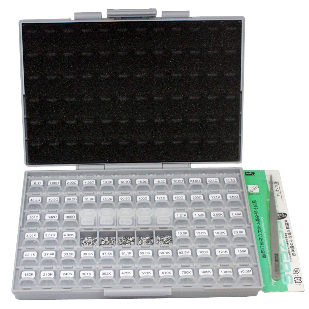 AideTek 0805 Size 72 Values 100pc/v 1% Engineering Sample Resistor Kit BOX-ALL 10Mohm E96 resistor storage plastic box R08E12100 0805 0603 0402 1206 smd capacitor resistor assortment combo kit sample book lcr clip tweezer