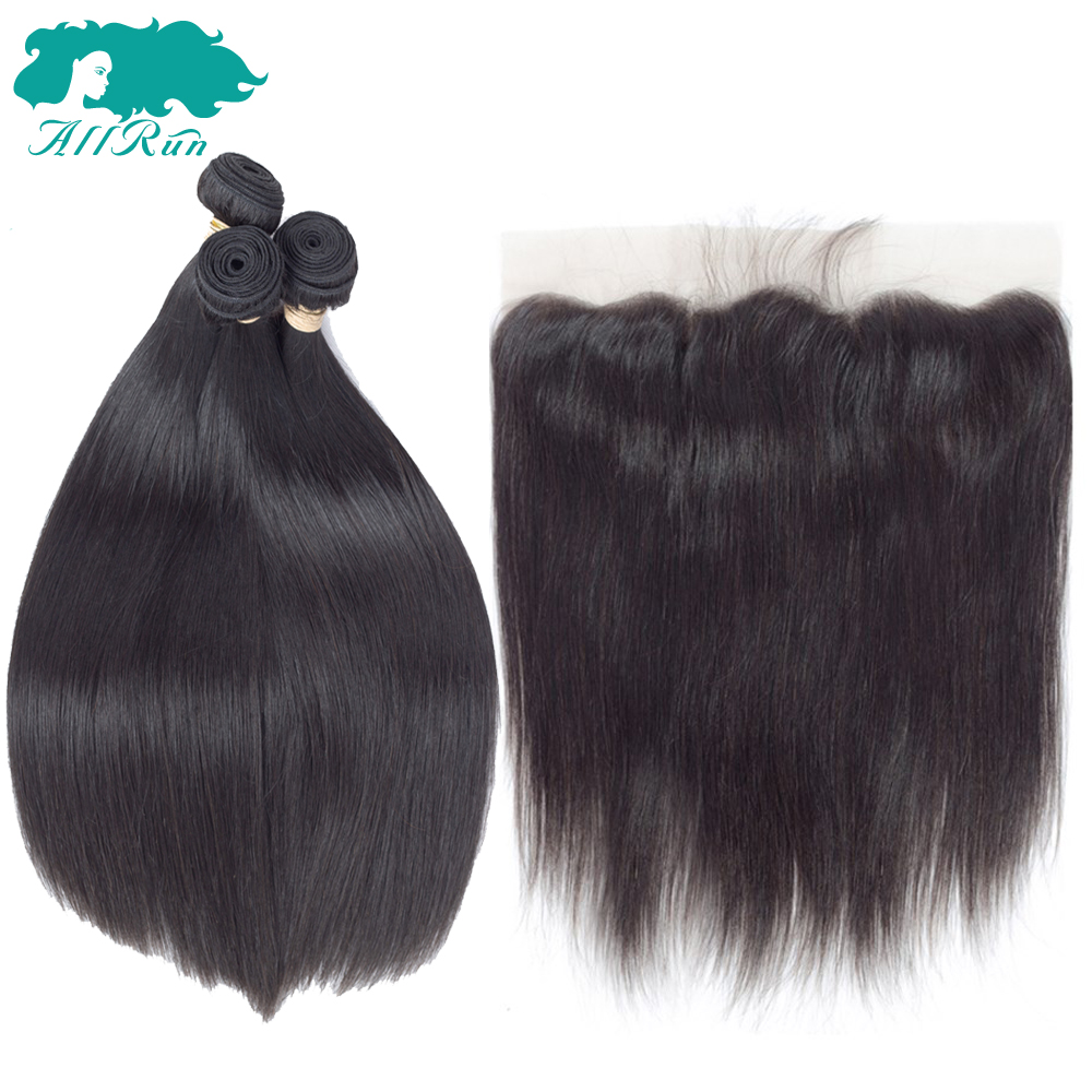 Allrun Indian Straight Hair Bundles With Lace Frontal 3 pieces with Closure 13*4 Non-Remy Human Hair