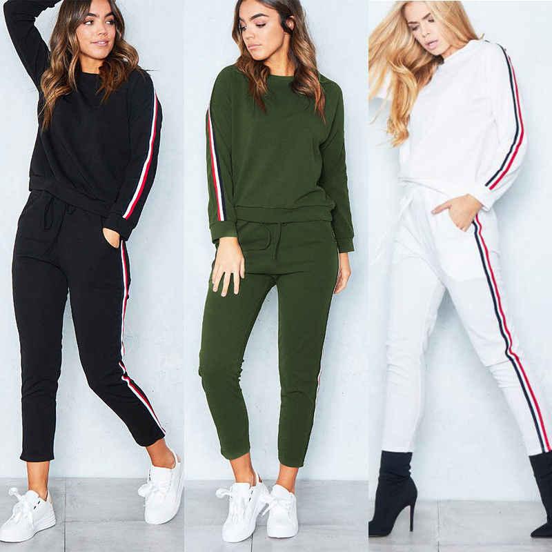 1f49e55971a Hirigin 2018 модная женская одежда комплект кофты 2 шт. комплект одежды с  длинным рукавом спортивный